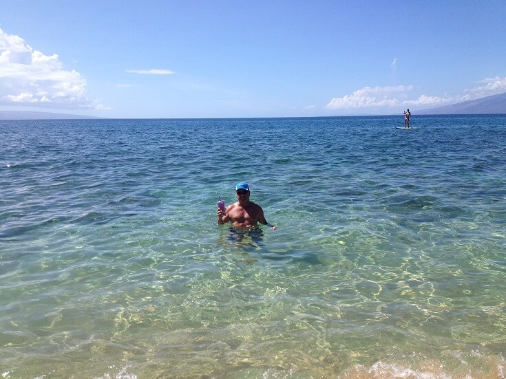 Enjoying the calm, warm water in Kaanapali