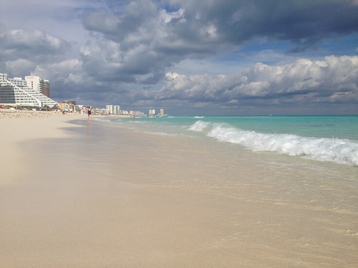 Stunning white sand beach in Cancun's hotel zone looking north