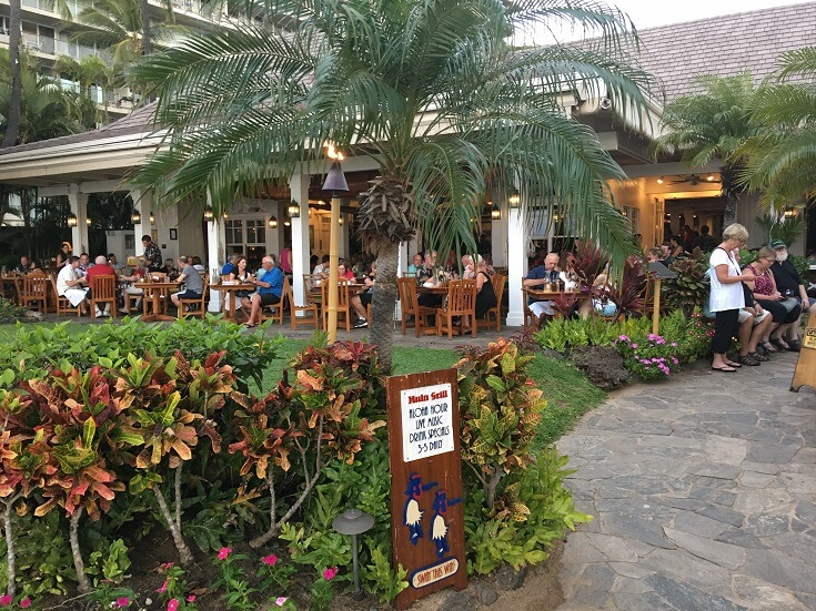 Outdoor dining area at the Hula Grill in Kaanapali