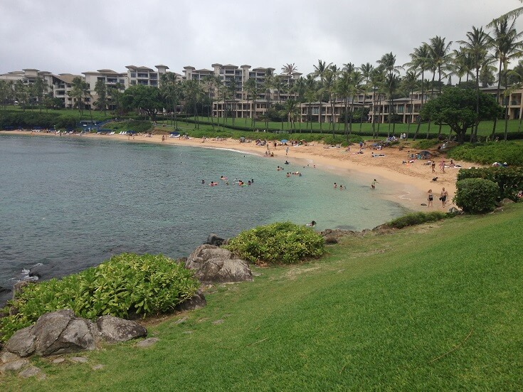 View from the grassy park, looking north towards Kapalua Bay