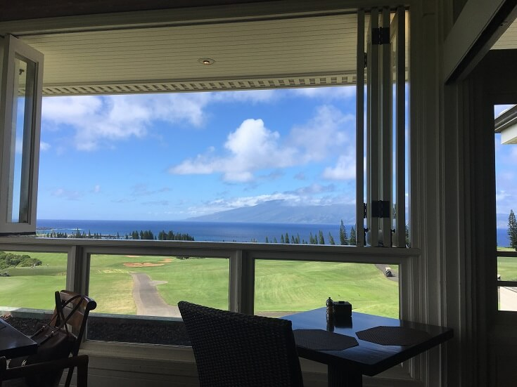 View from the Plantation House dining room looking towards the surrounding islands and ocean