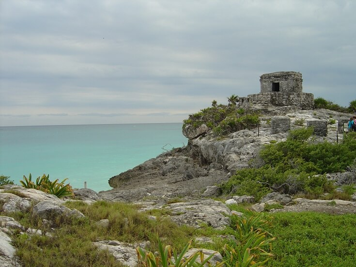 View of the Caribbean from the Tulum ruins perched about the beach