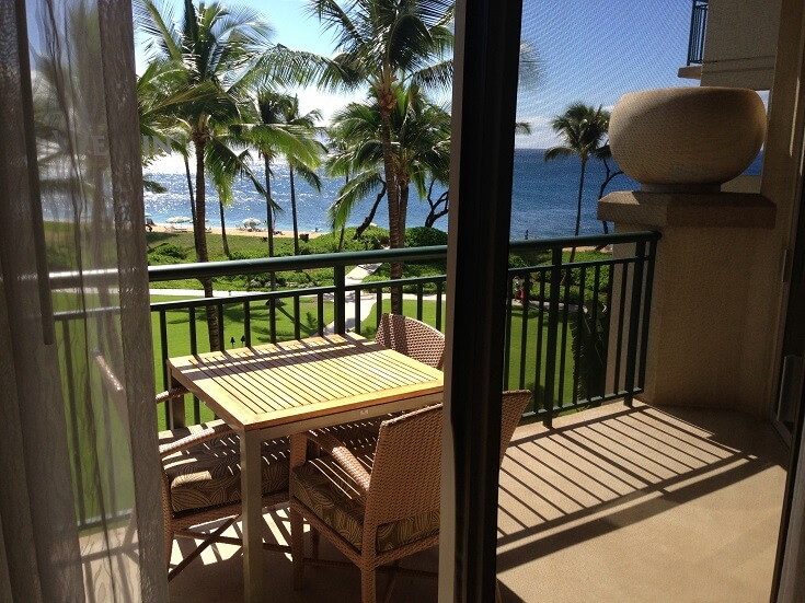 View from the balcony of the Westin Ocean Resort Villas in Maui Hawaii