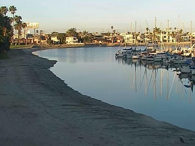 Live webcam view of the boat dock area at the Bahia Hotel