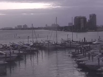 View of the docks in Biscayne Bay Florida