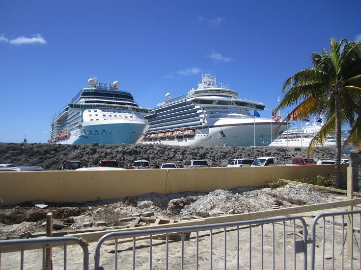 Cruise ships in port waiting to head out to sea