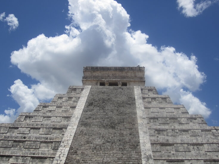 Chichen Itza Mayan Ruin looking up to the top of Kukulkan