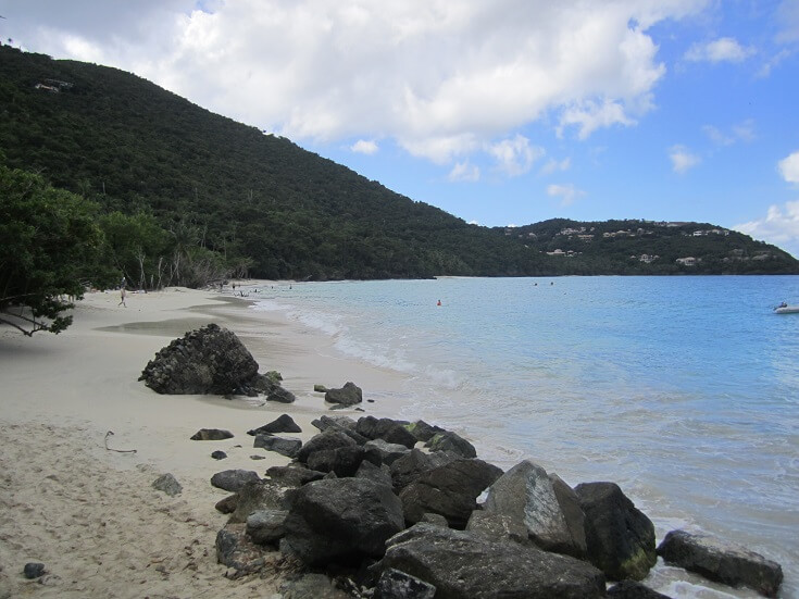 The white sand of St John's Cinnamon Bay
