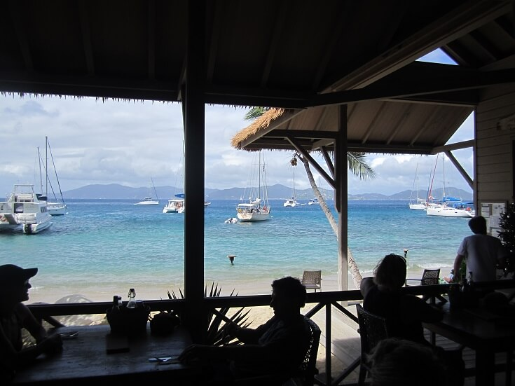 Stopping for lunch at the Beach Club on Cooper Island