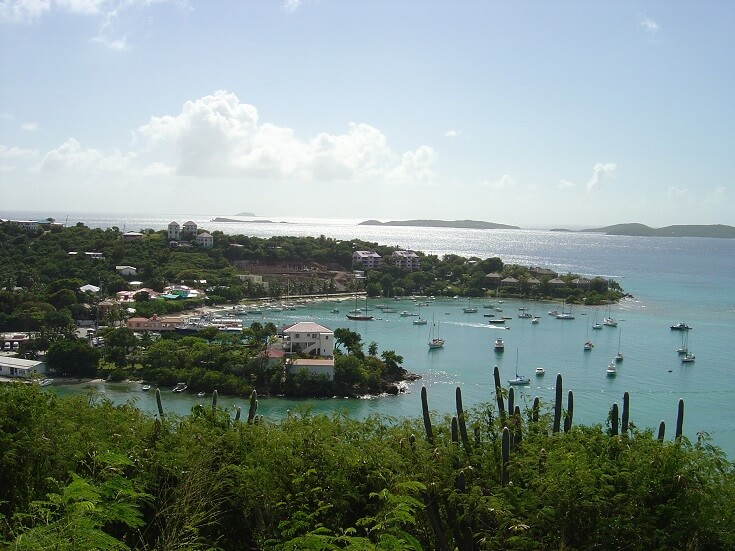 View of Cruz Bay from a hill to the north