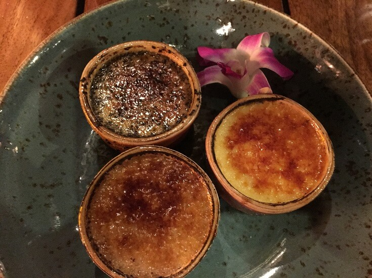 Duke's Beach House Maui expresso, vanilla and chocolate Creme Brulee Trio
