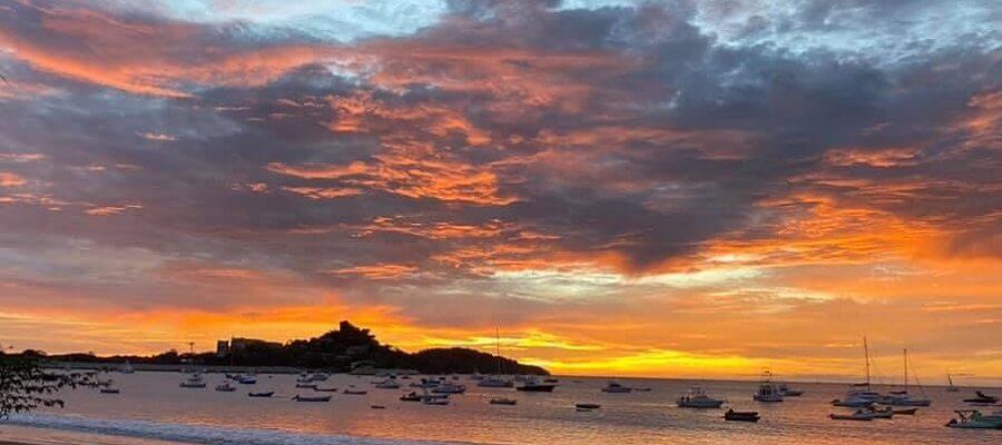 Sun sets over Flamingo Point Costa Rica