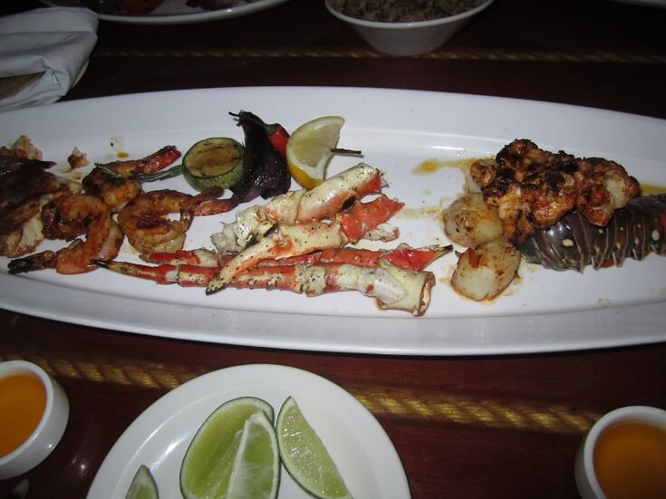 Seafood platter at Fred's, Cancun Mexico