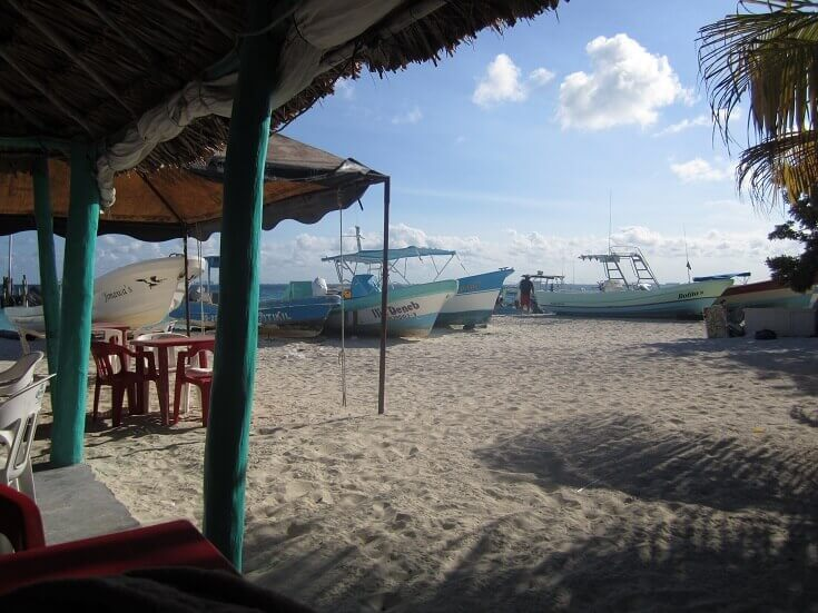 Beach restaurant in Isla Mujeres Mexico