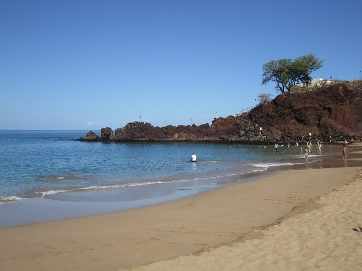The calm waters of Kaanapali beach looking north towards Black Rock