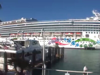 Live view of the docks and cruise terminal from the Saltwater Angler
