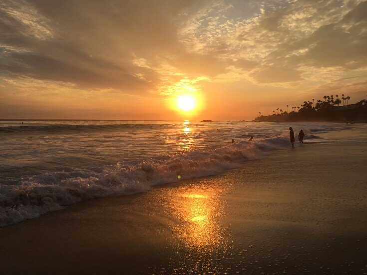 Sun goes down on a warm and beautiful September day in Laguna Beach