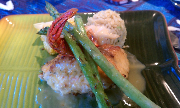 Mama's Fish House stuffed macadamia nut crusted Mahi-Mahi with lobster and crab meat