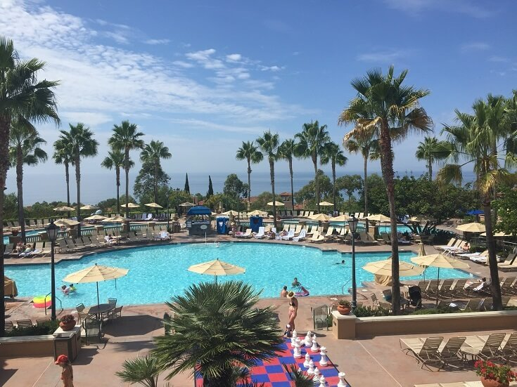 The pool area at the Marriott Newport Beach with views overlooking the Pacific Ocean