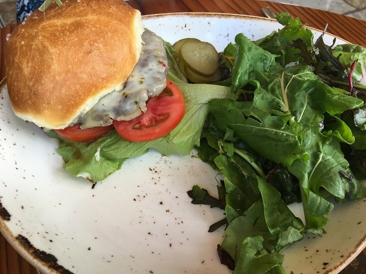 The Mill House burger with pepper jack cheese, lettuce and tomato plus a crispy fresh garden salad