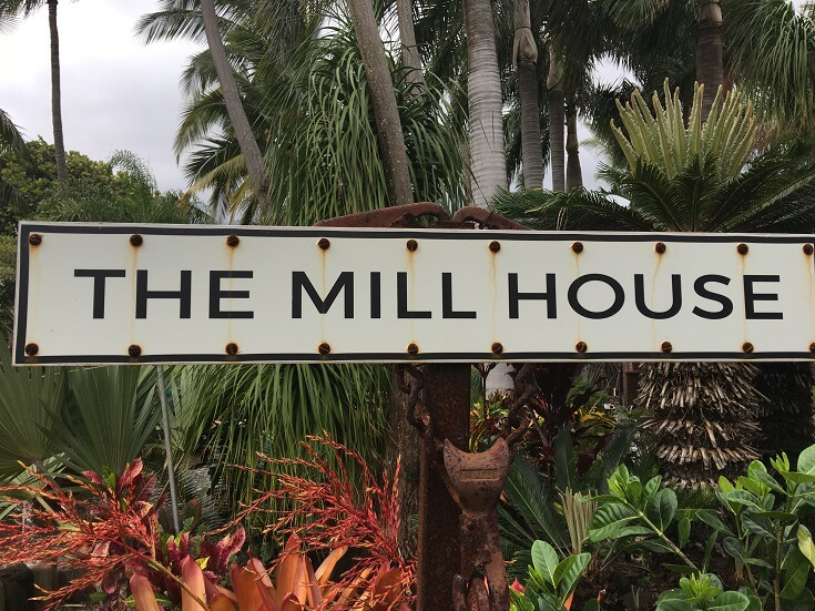 Entrance to the Mill House Restaurant and the surrounding tropical gardens