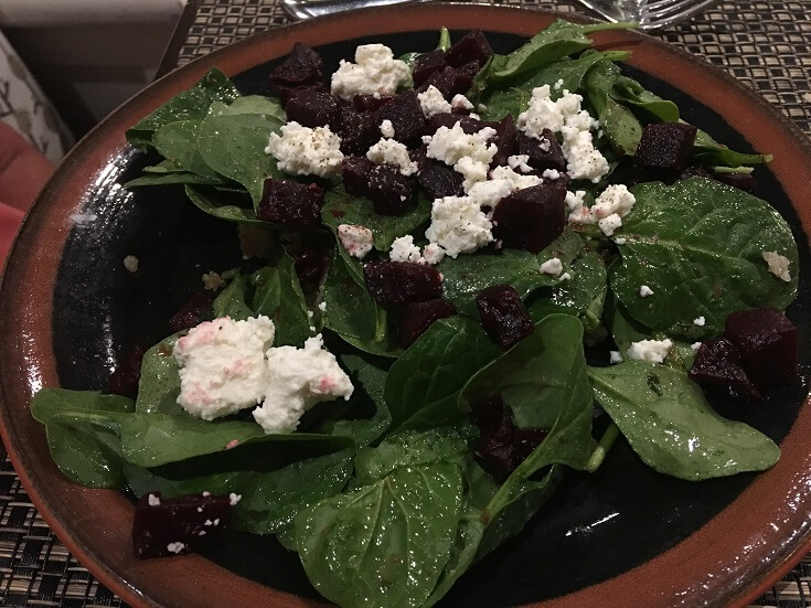 Delicious spinach with beets and feta cheese