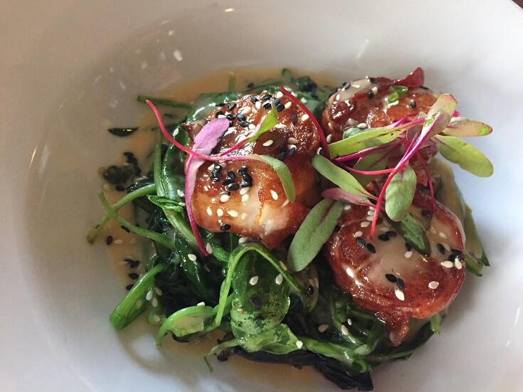 Rooftop Laguna Beach scallop salad