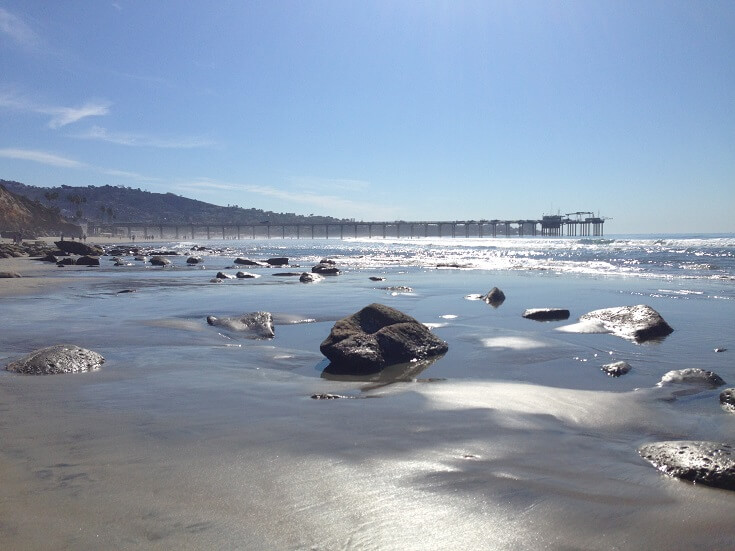 Beautiful February beach day at San Diego's La Jolla shores