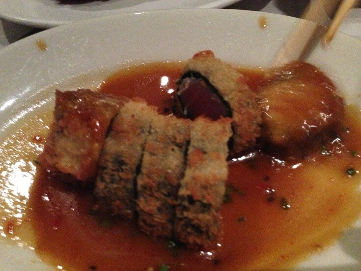 Sansei panko crusted ahi in a soy wasabi butter sauce
