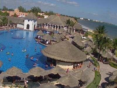 View of the pool at the Sapphire Riviera Resort in Playa del Carmen Mexico