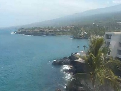 View of the ocean and rocky cliffs from the Sheraton Kona