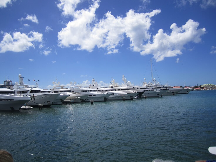 Luxury boats line the harbor in St Marteen