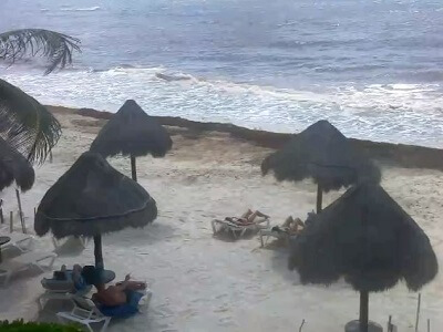 View of the Caribbean in Tulum Mexico