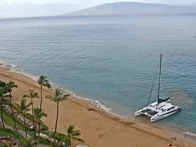 View of the beach from the live Maui Westin webcam