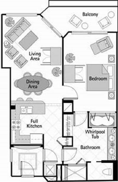 Floor plan of the one bedroom lockoff