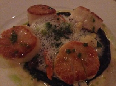 Winesellar's seared and caramelized scallops