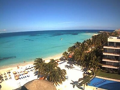 View of the beach in Isla Mujeres from the top of the Ixchel Hotel