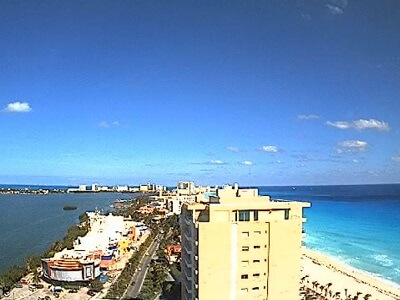 View of Cancun's Hotel Zone looking north from the Beach Palace Resort