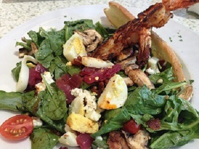 C-level's spinach and blackened shrimp salad