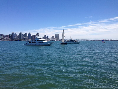 C-Level view of San Diego bay from the outdoor seating area