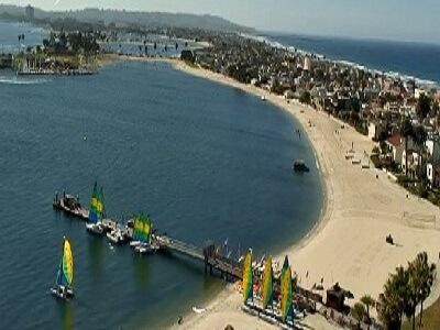 Webcam view from the top of the Catamaran Resort and Spa looking down towards the boat dock area in Mission Bay