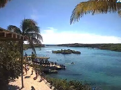 View of the lagoon at Xel-Ha, an adventure part south of Cancun Mexico
