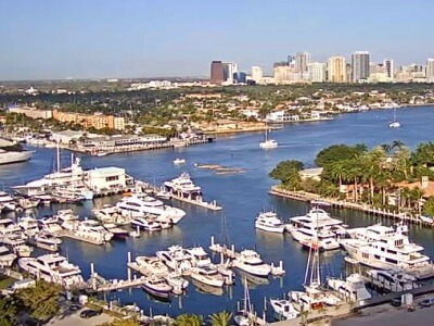View of the harbor and cruise ship terminal in Ft Lauderdale