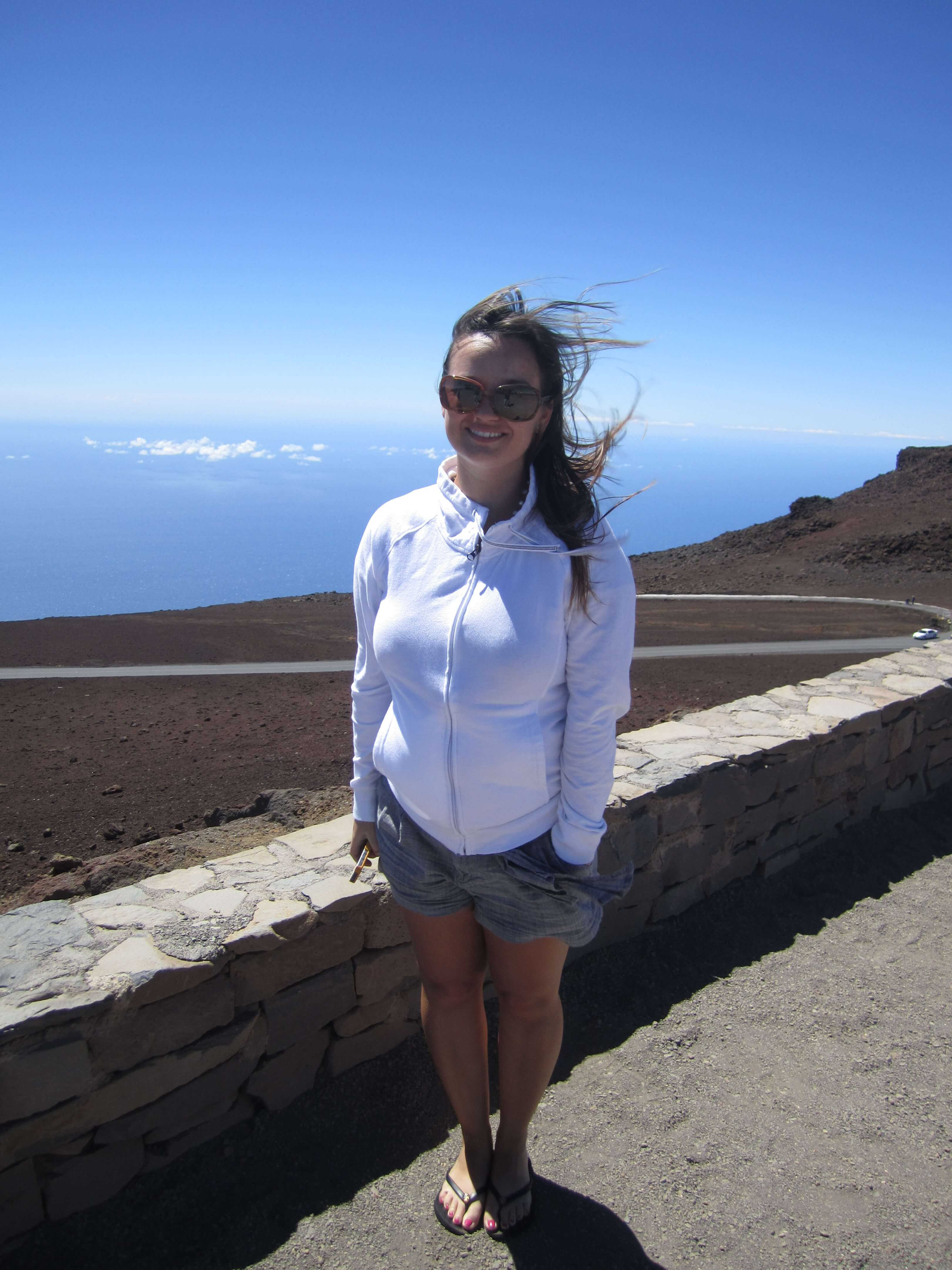 The top of Haleakala with 40 mph winds and mid 50 temperatures