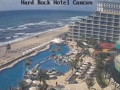 View of the pool and beach from the top of the Hard Rock Cancun Mexico