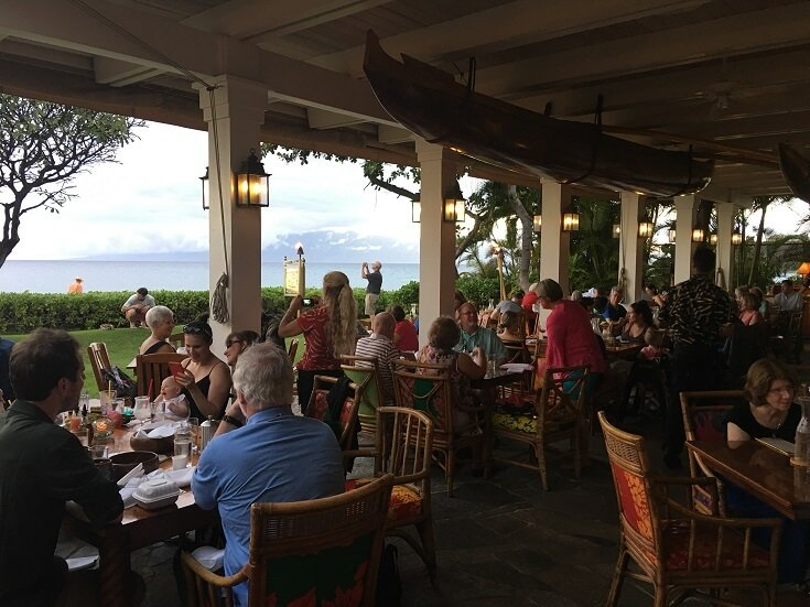 View from the open air dining room looking towards the ocean