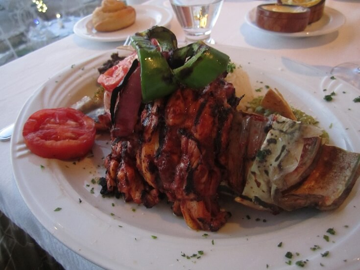 La Hibichuela's mayan lobster with grilled peppers, tomatoes and plantains