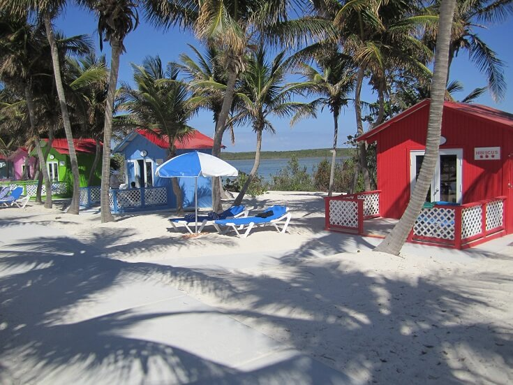 Beach and bungalow in Princess Cays bahamas