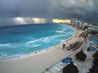 View of the Hotel Zone looking south from the top of the Krystal Hotel and Resort in Cancun Mexico