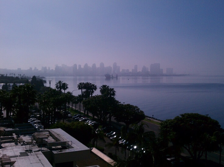 View of downtown San Diego from the Sheraton Harbor Island